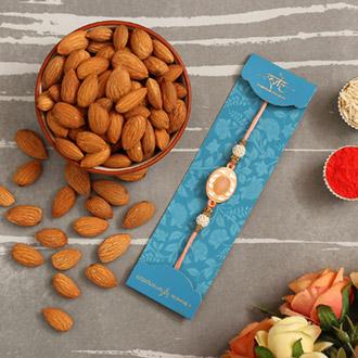 White Peach Stone Designer Rakhi And Healthy Almonds