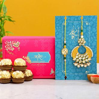 Yellow Crescent Shaped Lumba Rakhi Set With 3 Pcs Ferrero Rocher