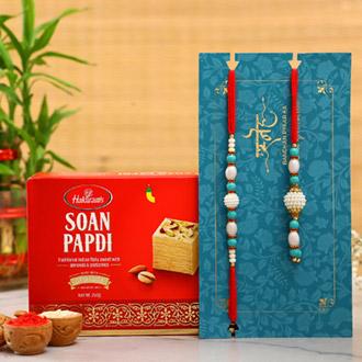 Blue Pearl And Lumba Rakhi Set With Soan Papdi
