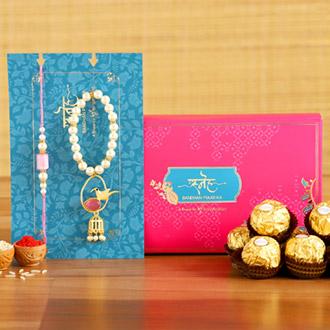 Caged Bird Bracelet Lumba Rakhi Set With 3 Pcs Ferrero Rocher