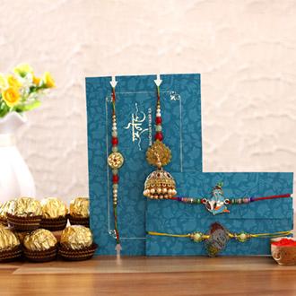 Jhumki Lumba Rakhi Set & Kids Rakhi With Ferrero Rocher