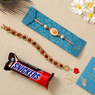 Peach Stone & Bracelet Rakhis With Snickers Chocolate