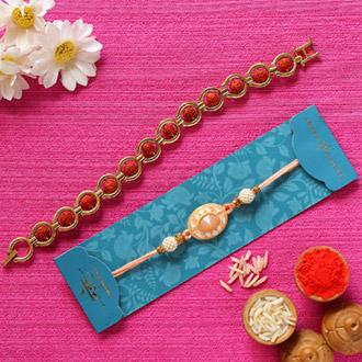 Peach Stone & Rudraksha Bracelet Rakhis