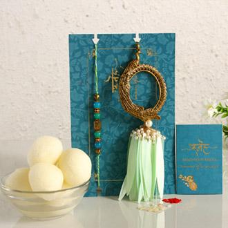 Feather Designer Lumba Rakhi Set & Gulab Jamun