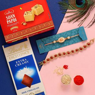 Rudraksha & Peach Stone Rakhis With Lindt Chocolate