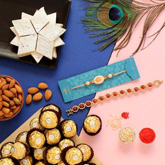 Rudraksha & Peach Stone Rakhis With Chocolate