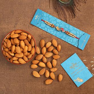 Divine Swastik Paduka Rakhi And Healthy Almonds