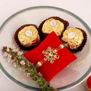 Floral Rakhi & 3pc Ferrero Rocher