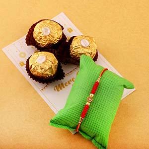 Single Rakhi & 3pc Ferrero Rocher