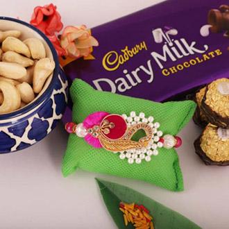 Traditional Rakhi with 3pc Ferrero, Cashew, Cadbury