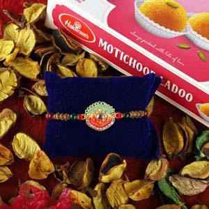Dual Color Rakhi & Motichoor Laddoo