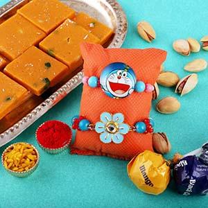 Cheery Rakhi Set & Pista Barfi