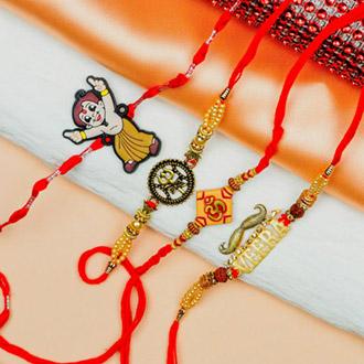 Traditional & Cute Kids Cartoon Set of 4 Rakhis